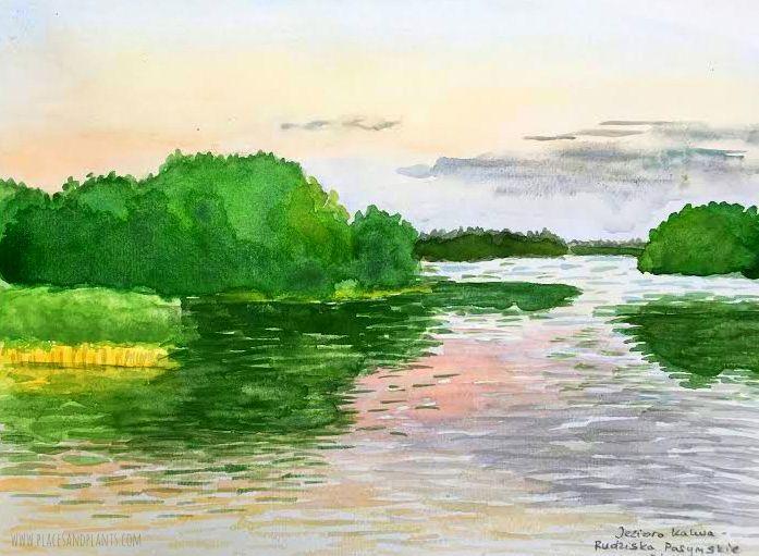 Jezioro Kalwa akwarela